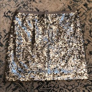 J.crew silver sequined skirt size 12 EUC